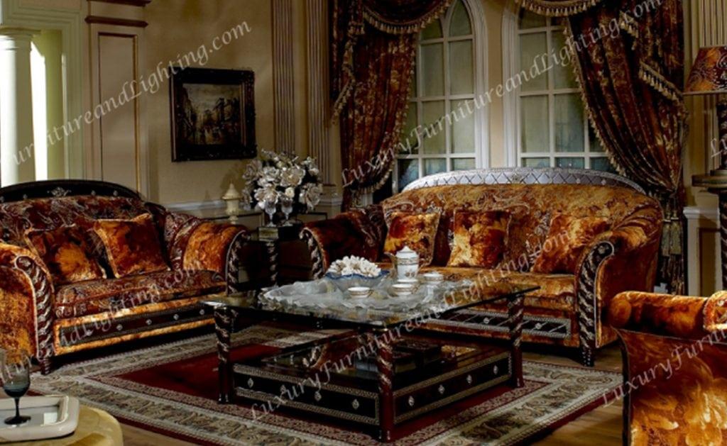Zeus Walnut & Gold Italian Furniture - Italian Living Room ...
