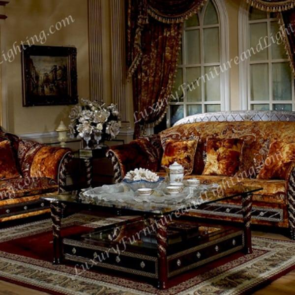 Italian Living Room Furniture Sets: Zeus Walnut & Gold Italian Furniture